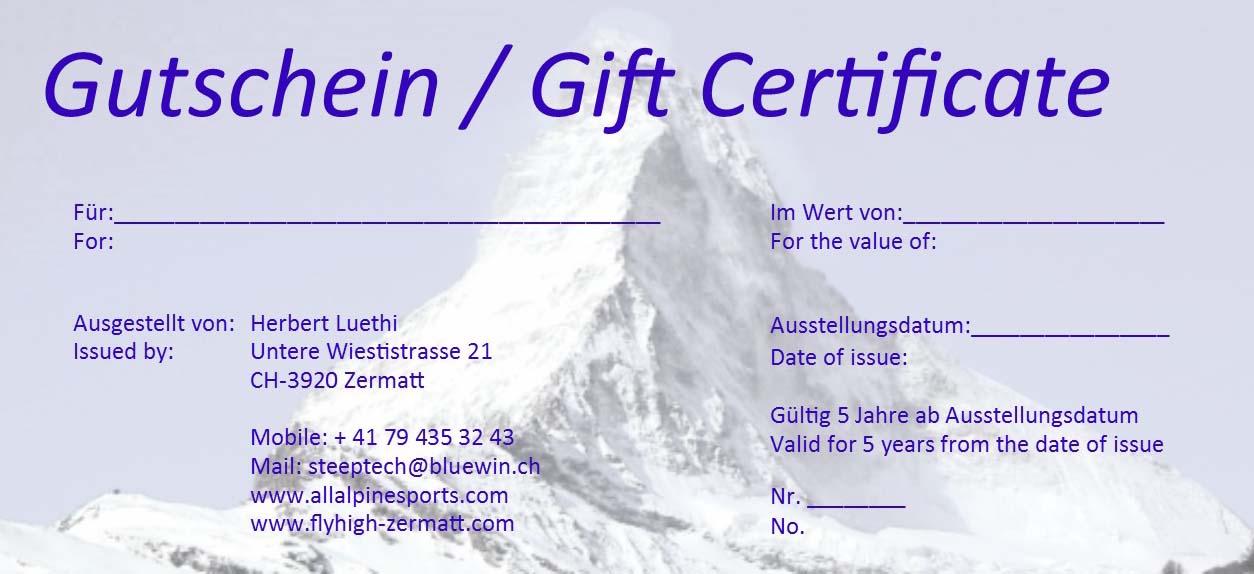 Gift Certificate Paragliding Zermatt